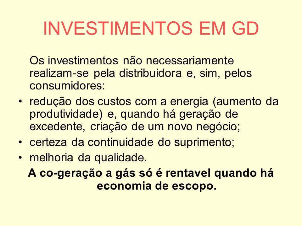 INVESTIMENTOS EM GD Os investimentos não necessariamente realizam-se pela distribuidora e, sim, pelos consumidores: redução dos custos com a energia (