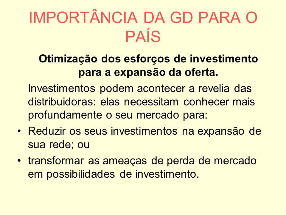IMPORTÂNCIA DA GD PARA O PAÍS Otimização dos esforços de investimento para a expansão da oferta. Investimentos podem acontecer a revelia das distribui