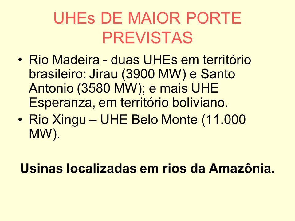 UHEs DE MAIOR PORTE PREVISTAS Rio Madeira - duas UHEs em território brasileiro: Jirau (3900 MW) e Santo Antonio (3580 MW); e mais UHE Esperanza, em te
