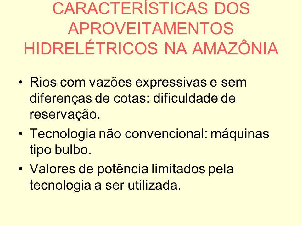 CARACTERÍSTICAS DOS APROVEITAMENTOS HIDRELÉTRICOS NA AMAZÔNIA Rios com vazões expressivas e sem diferenças de cotas: dificuldade de reservação. Tecnol