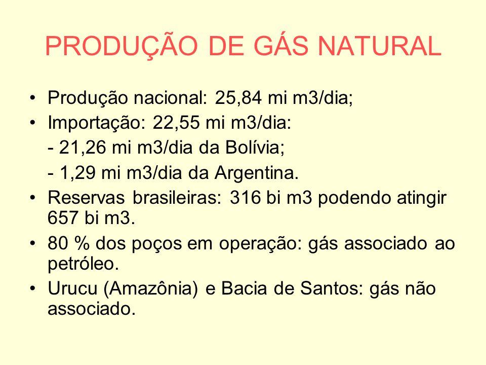 PRODUÇÃO DE GÁS NATURAL Produção nacional: 25,84 mi m3/dia; Importação: 22,55 mi m3/dia: - 21,26 mi m3/dia da Bolívia; - 1,29 mi m3/dia da Argentina.