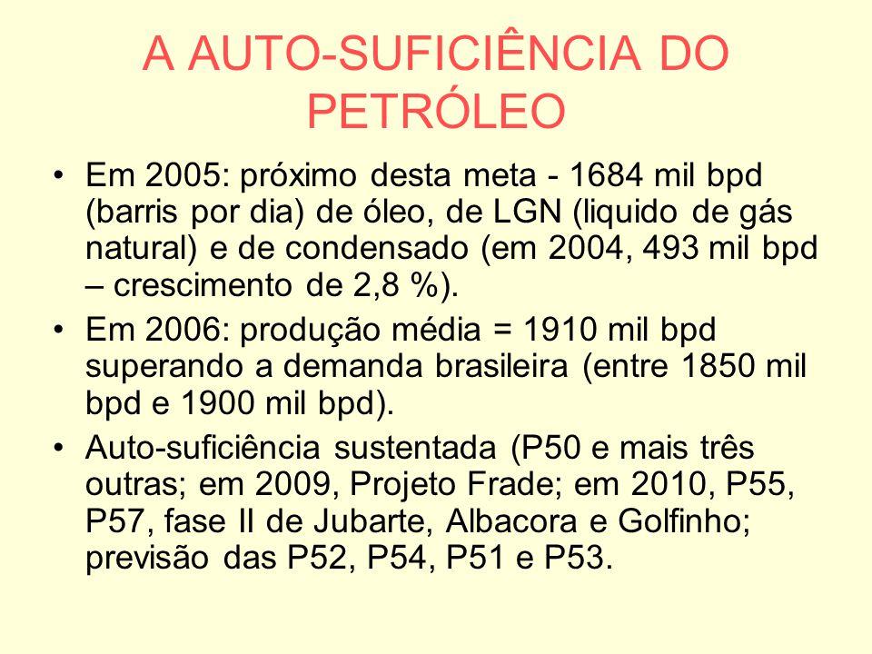 A AUTO-SUFICIÊNCIA DO PETRÓLEO Em 2005: próximo desta meta - 1684 mil bpd (barris por dia) de óleo, de LGN (liquido de gás natural) e de condensado (e