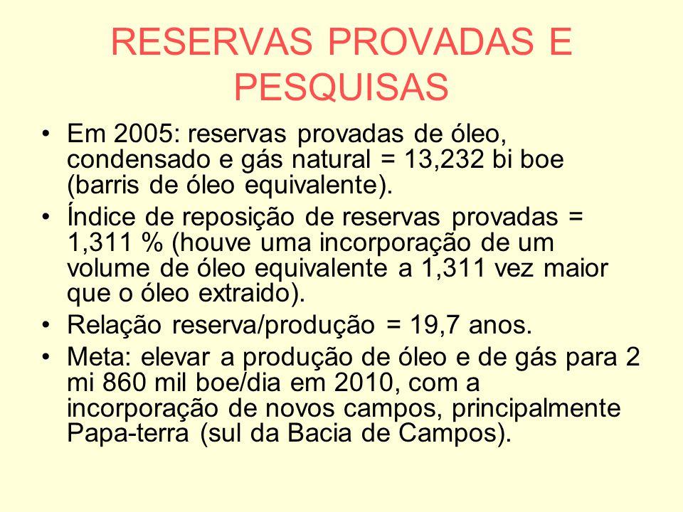 RESERVAS PROVADAS E PESQUISAS Em 2005: reservas provadas de óleo, condensado e gás natural = 13,232 bi boe (barris de óleo equivalente). Índice de rep
