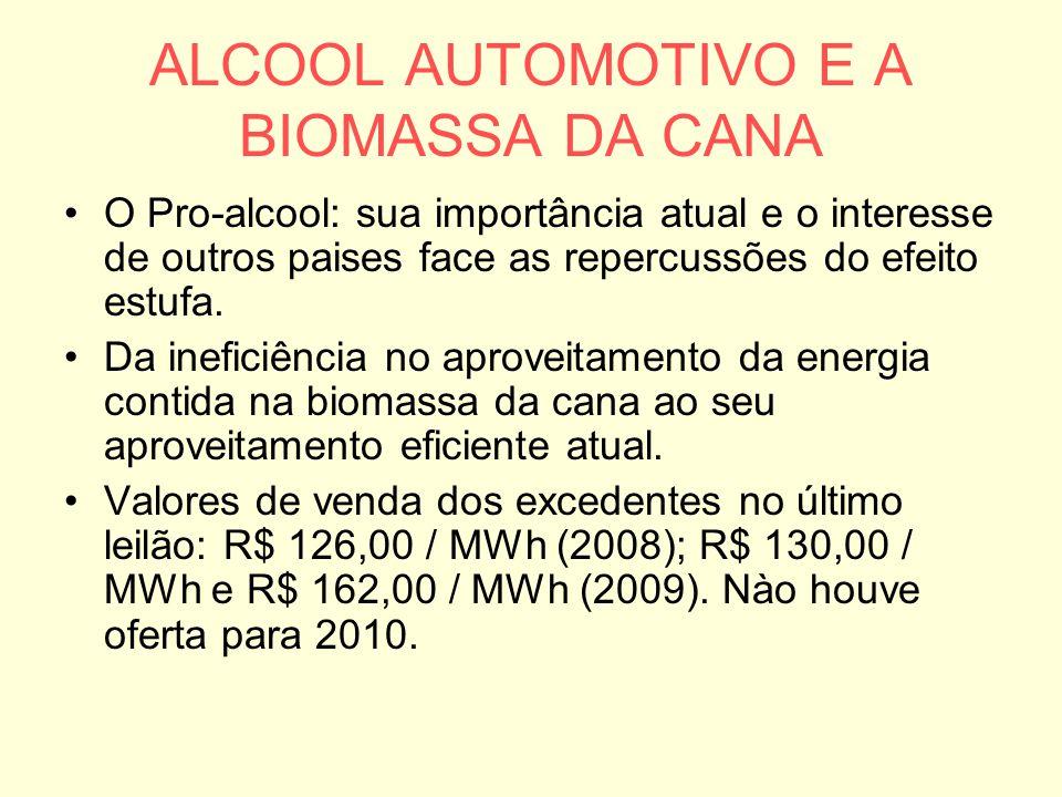 ALCOOL AUTOMOTIVO E A BIOMASSA DA CANA O Pro-alcool: sua importância atual e o interesse de outros paises face as repercussões do efeito estufa. Da in