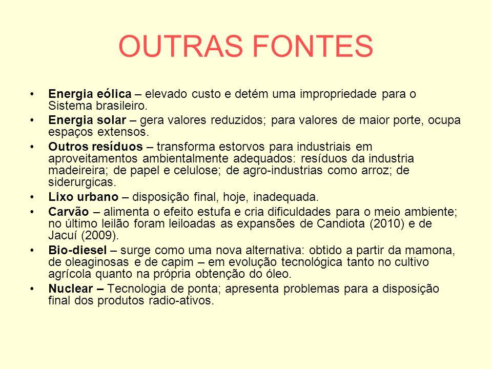 OUTRAS FONTES Energia eólica – elevado custo e detém uma impropriedade para o Sistema brasileiro. Energia solar – gera valores reduzidos; para valores