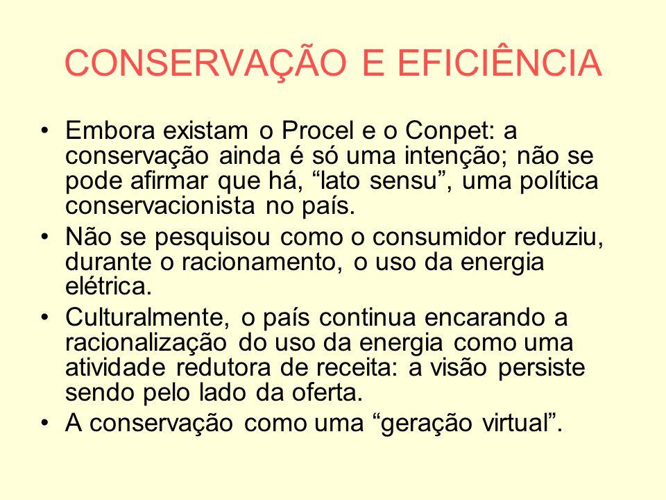 """CONSERVAÇÃO E EFICIÊNCIA Embora existam o Procel e o Conpet: a conservação ainda é só uma intenção; não se pode afirmar que há, """"lato sensu"""", uma polí"""
