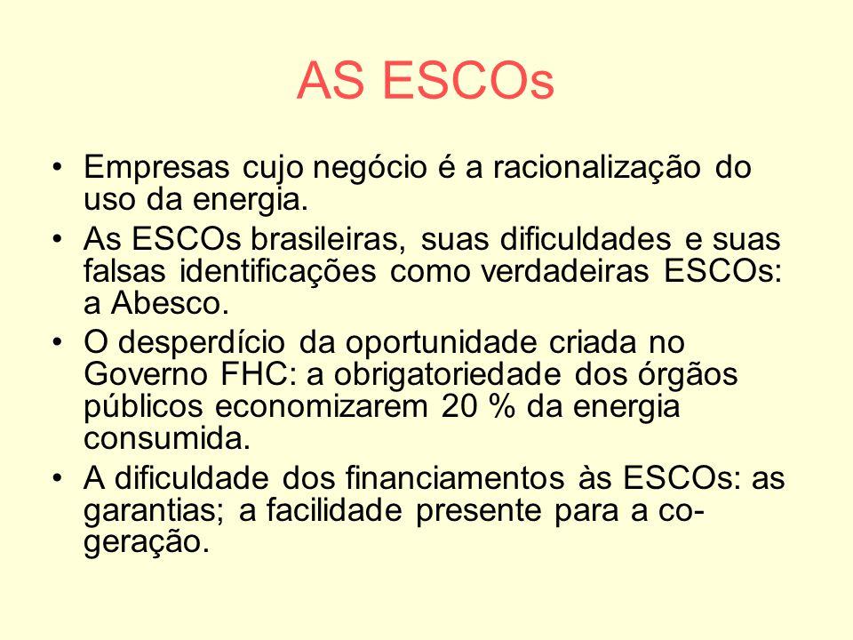 AS ESCOs Empresas cujo negócio é a racionalização do uso da energia. As ESCOs brasileiras, suas dificuldades e suas falsas identificações como verdade