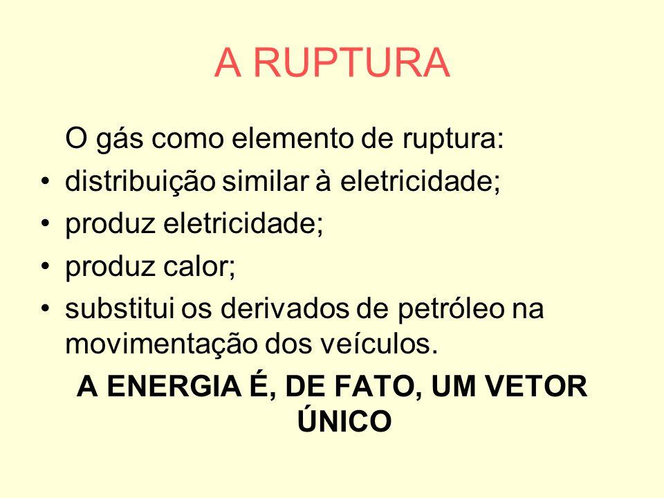 A RUPTURA O gás como elemento de ruptura: distribuição similar à eletricidade; produz eletricidade; produz calor; substitui os derivados de petróleo n