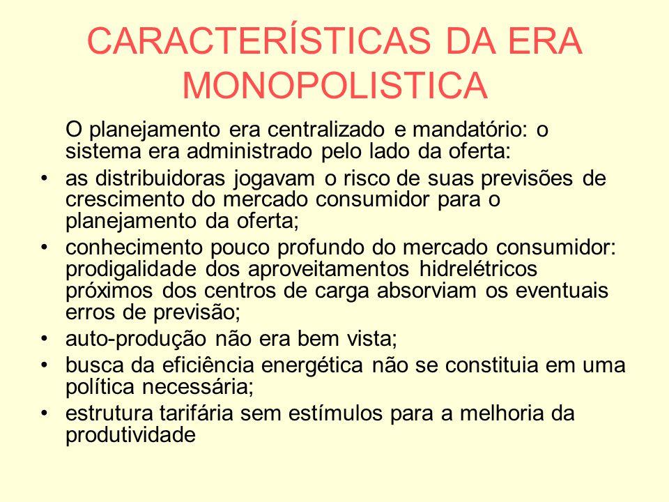CARACTERÍSTICAS DA ERA MONOPOLISTICA O planejamento era centralizado e mandatório: o sistema era administrado pelo lado da oferta: as distribuidoras j