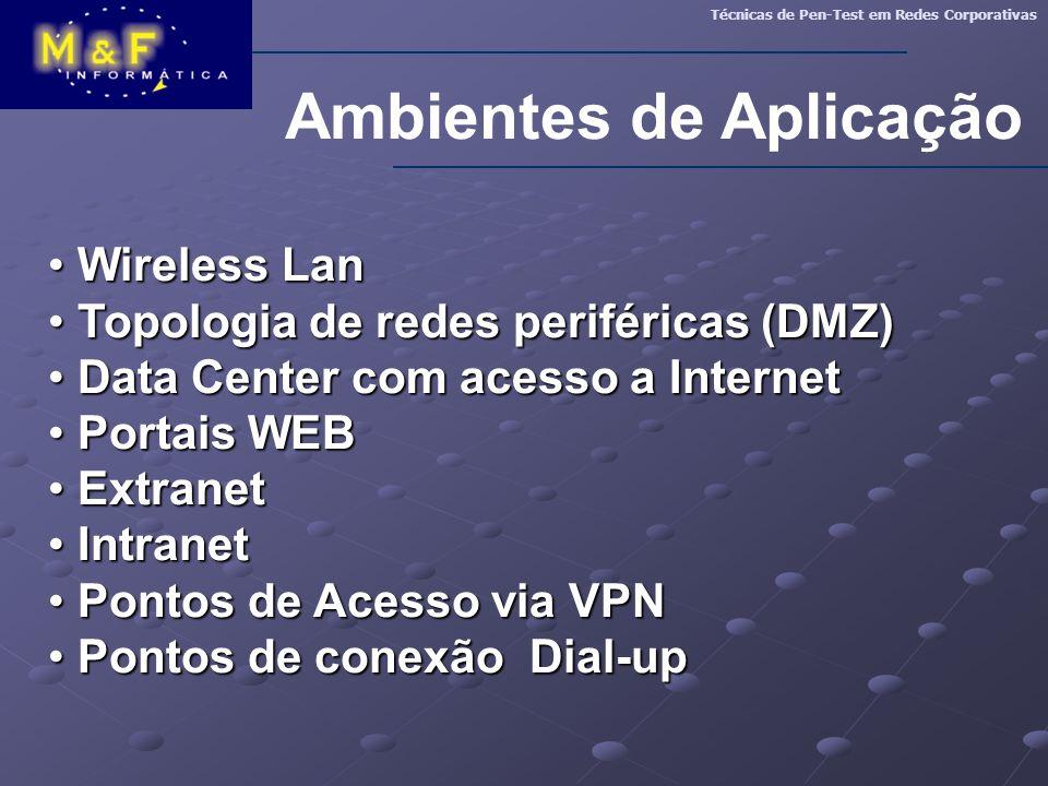 Ambientes de Aplicação Técnicas de Pen-Test em Redes Corporativas Wireless Lan Wireless Lan Topologia de redes periféricas (DMZ) Topologia de redes pe