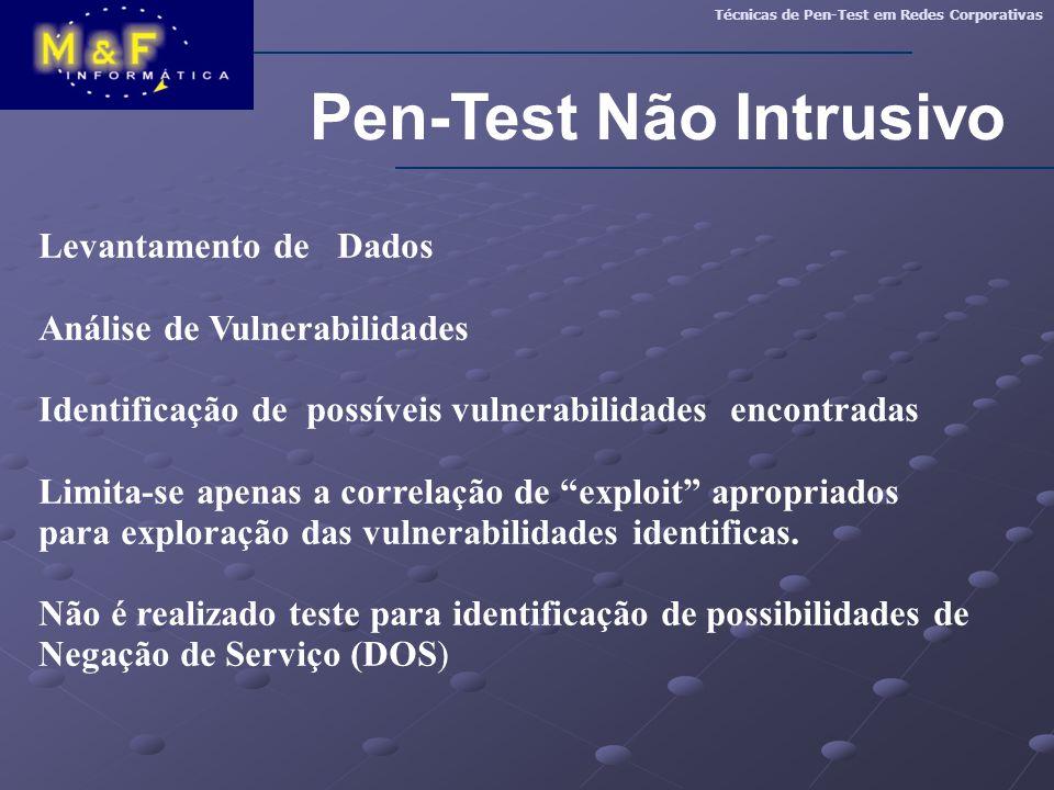 Pen-Test Não Intrusivo Técnicas de Pen-Test em Redes Corporativas Levantamento de Dados Análise de Vulnerabilidades Identificação de possíveis vulnera