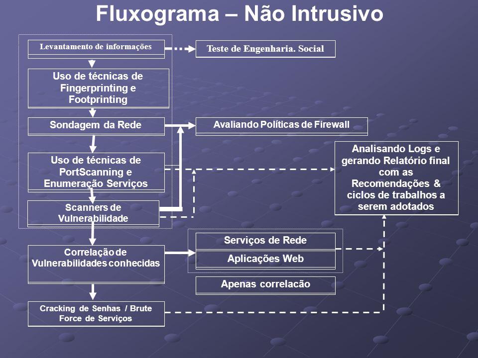 Fluxograma – Não Intrusivo Sondagem da RedeUso de técnicas de PortScanning e Enumeração Serviços Correlação de Vulnerabilidades conhecidas Avaliando P