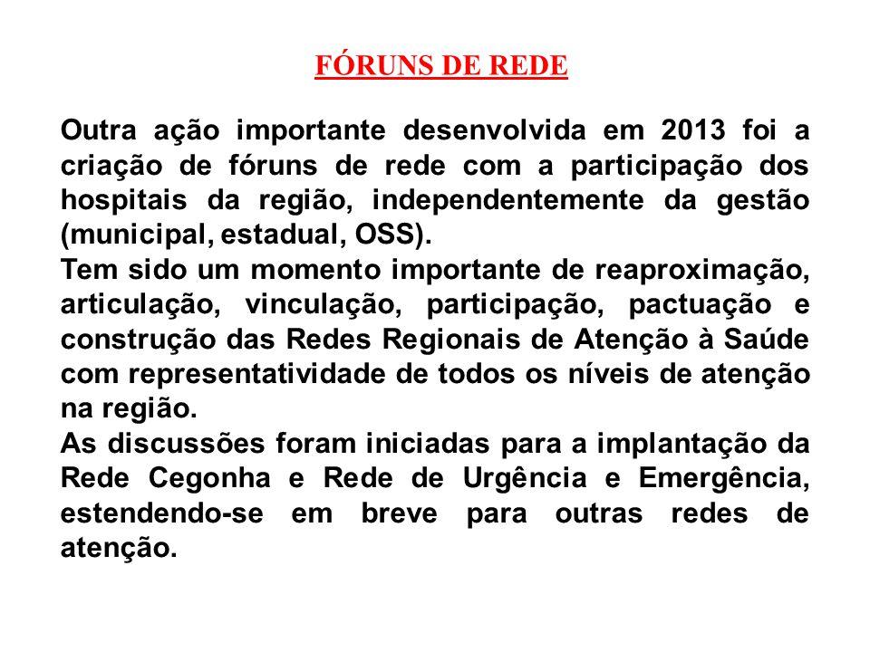 FÓRUNS DE REDE Outra ação importante desenvolvida em 2013 foi a criação de fóruns de rede com a participação dos hospitais da região, independentement