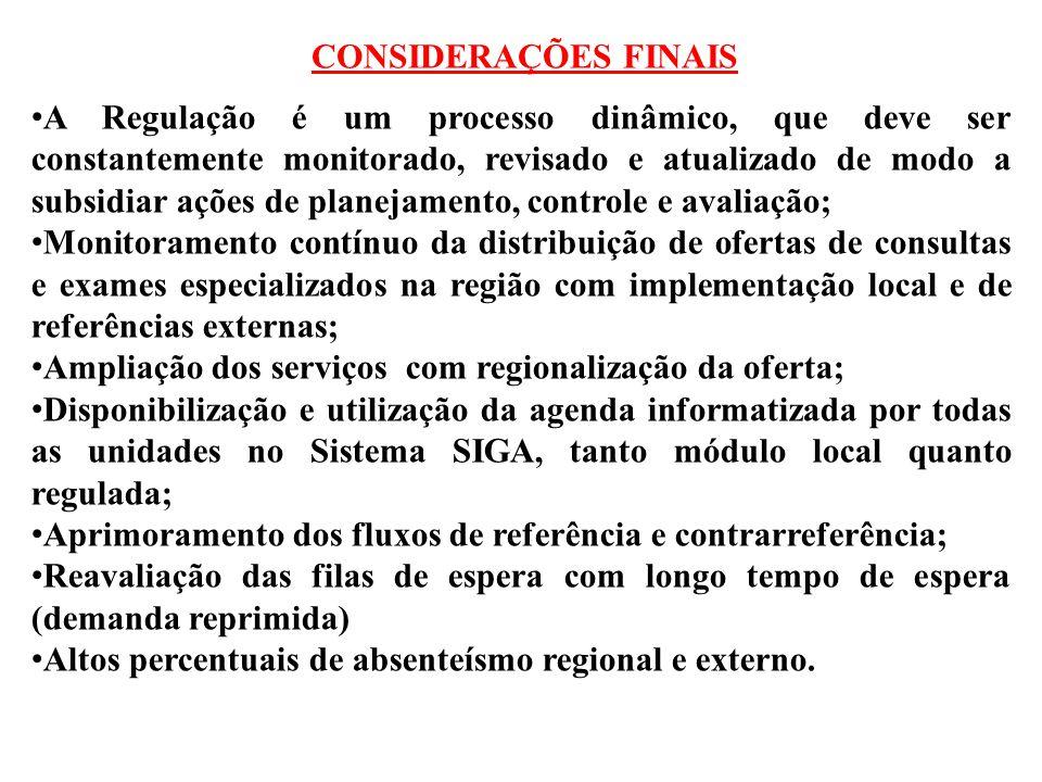 CONSIDERAÇÕES FINAIS A Regulação é um processo dinâmico, que deve ser constantemente monitorado, revisado e atualizado de modo a subsidiar ações de pl