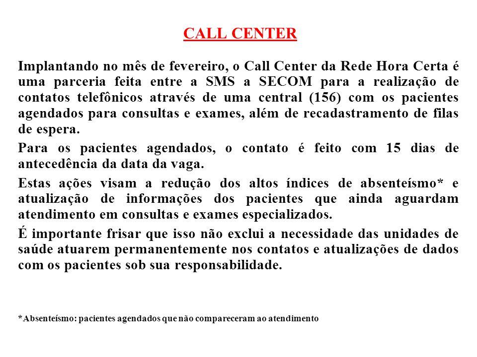 CALL CENTER Implantando no mês de fevereiro, o Call Center da Rede Hora Certa é uma parceria feita entre a SMS a SECOM para a realização de contatos t