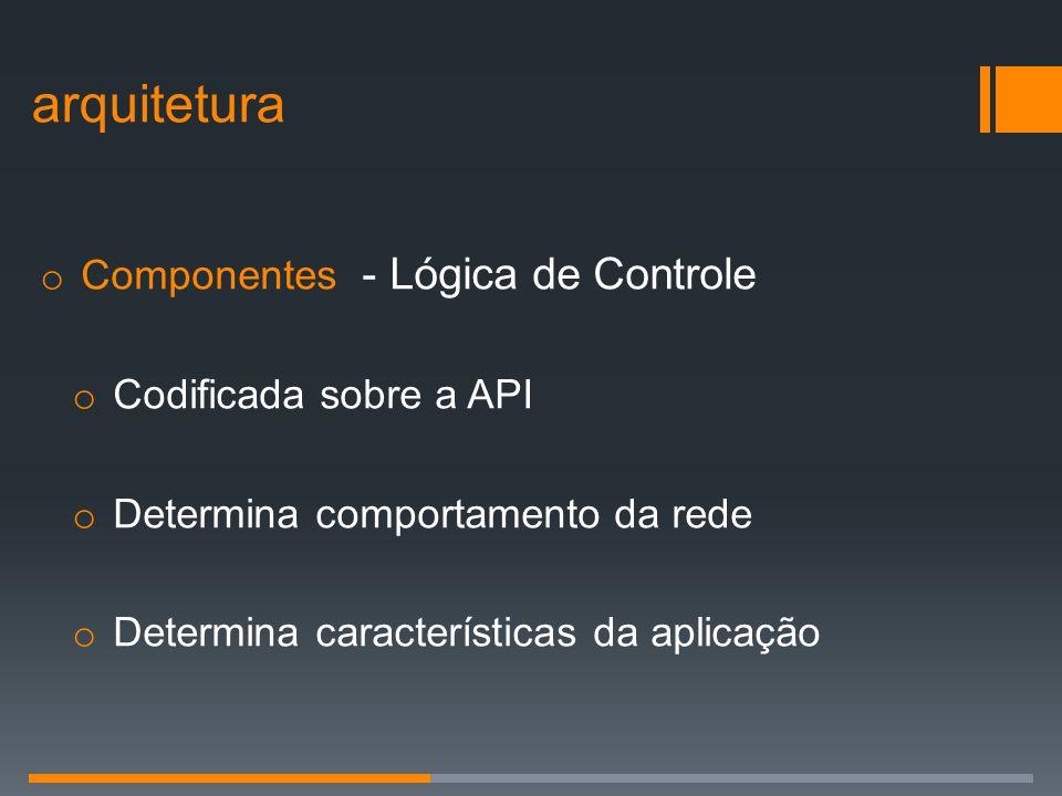 o Componentes - Lógica de Controle o Codificada sobre a API o Determina comportamento da rede o Determina características da aplicação arquitetura
