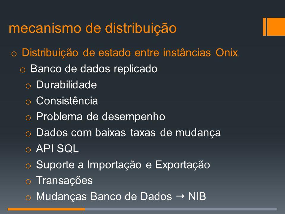 o Distribuição de estado entre instâncias Onix o Banco de dados replicado o Durabilidade o Consistência o Problema de desempenho o Dados com baixas ta