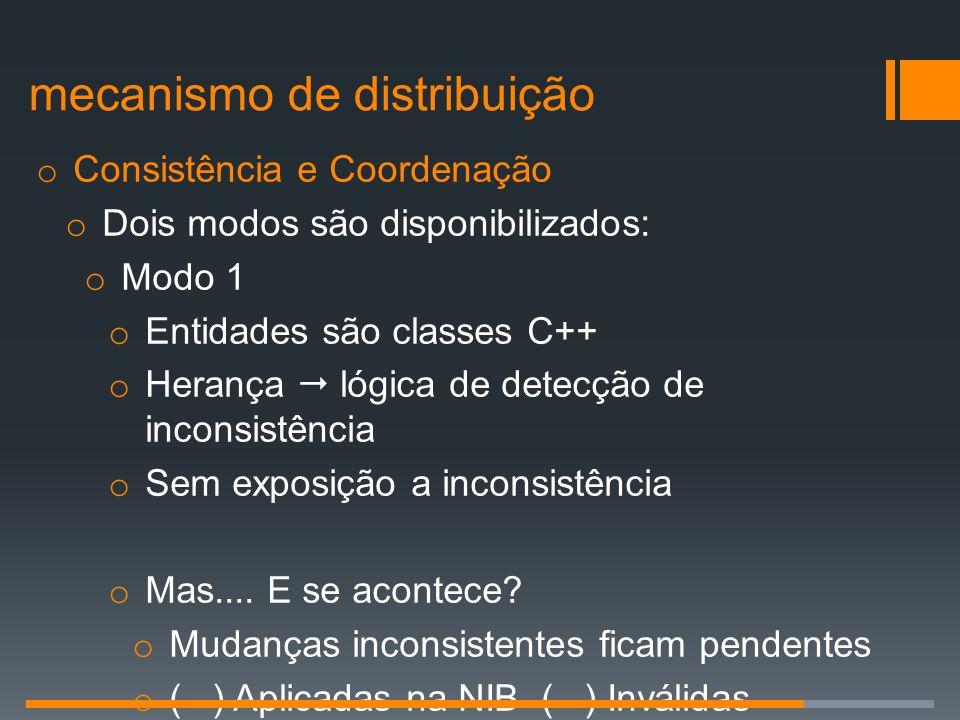 o Consistência e Coordenação o Dois modos são disponibilizados: o Modo 1 o Entidades são classes C++ o Herança  lógica de detecção de inconsistência