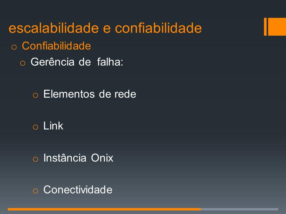 o Confiabilidade o Gerência de falha: o Elementos de rede o Link o Instância Onix o Conectividade escalabilidade e confiabilidade