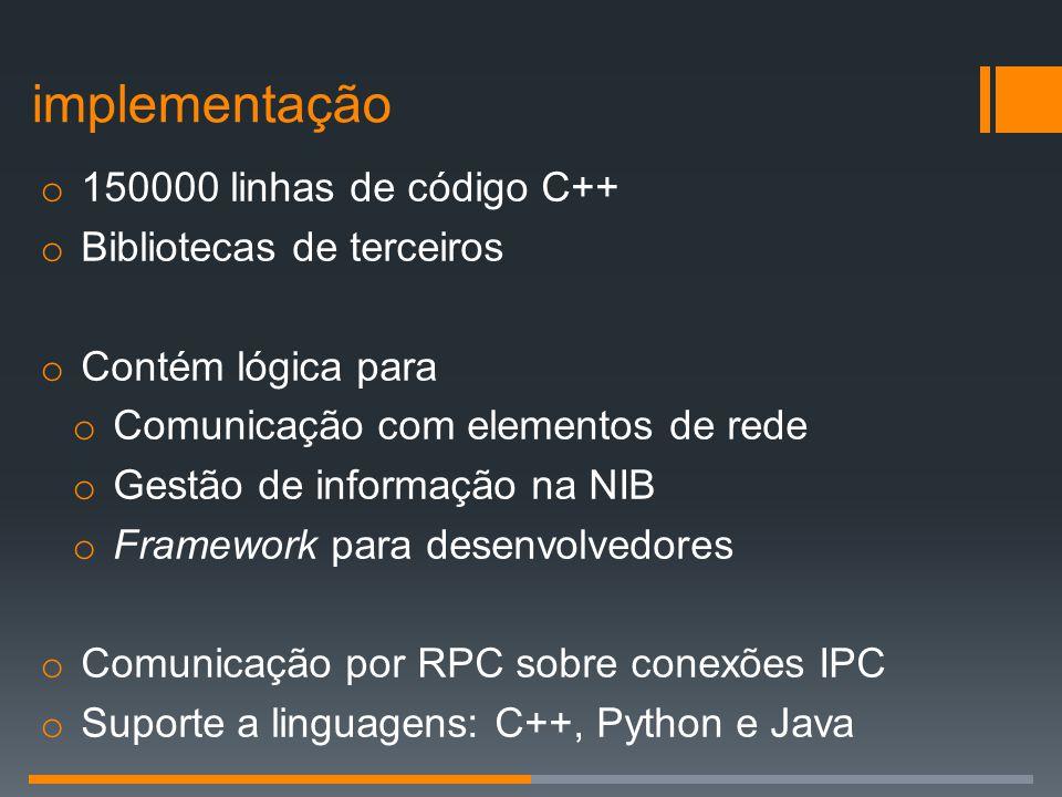 o 150000 linhas de código C++ o Bibliotecas de terceiros o Contém lógica para o Comunicação com elementos de rede o Gestão de informação na NIB o Fram