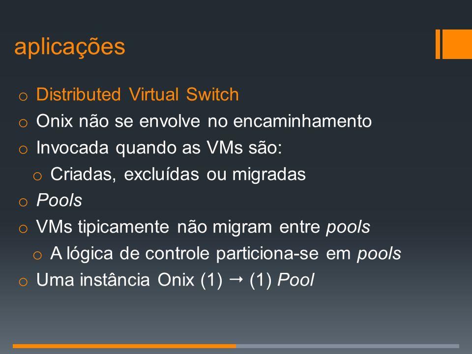 o Distributed Virtual Switch o Onix não se envolve no encaminhamento o Invocada quando as VMs são: o Criadas, excluídas ou migradas o Pools o VMs tipi