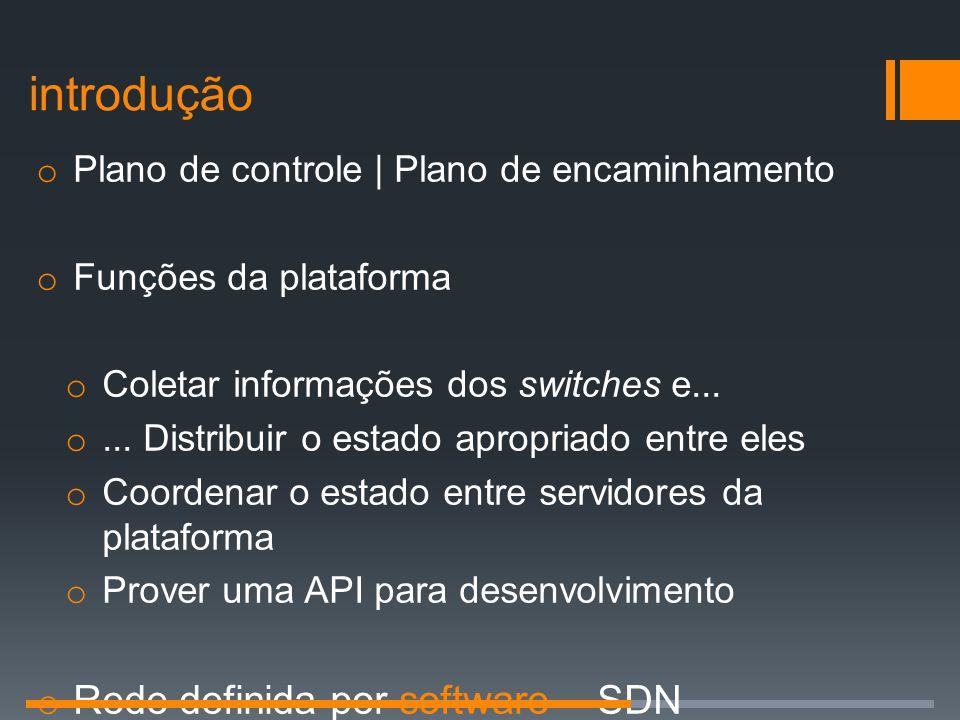 introdução o Plano de controle | Plano de encaminhamento o Funções da plataforma o Coletar informações dos switches e... o... Distribuir o estado apro