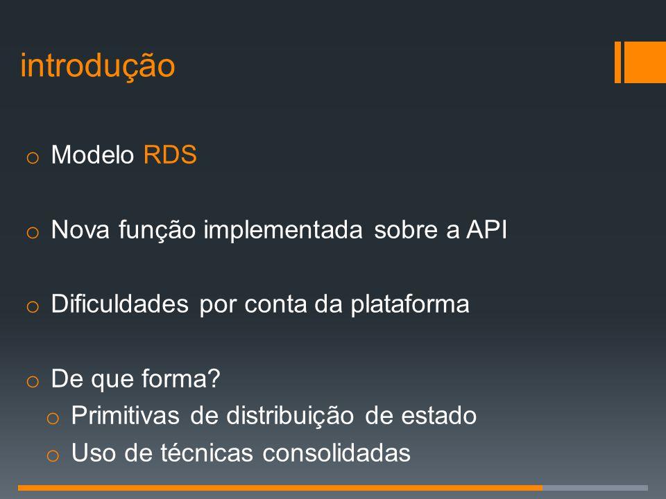 introdução o Modelo RDS o Nova função implementada sobre a API o Dificuldades por conta da plataforma o De que forma? o Primitivas de distribuição de