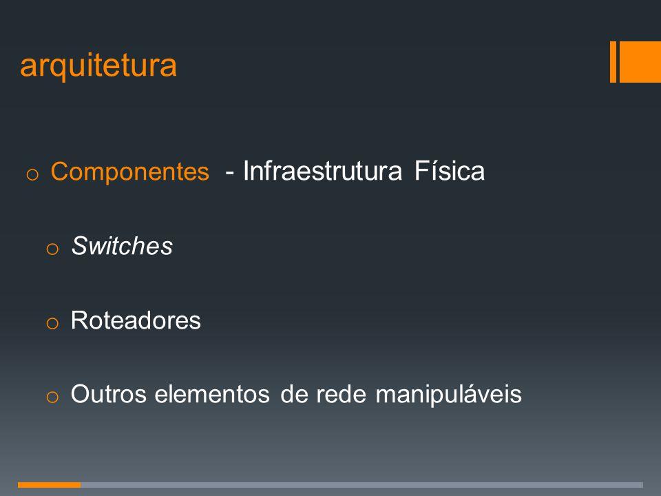 o Componentes - Infraestrutura Física o Switches o Roteadores o Outros elementos de rede manipuláveis arquitetura