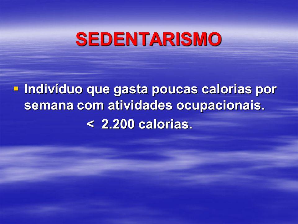 SEDENTARISMO  Indivíduo que gasta poucas calorias por semana com atividades ocupacionais. < 2.200 calorias. < 2.200 calorias.