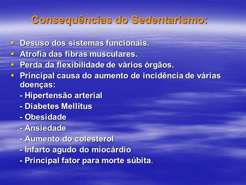 Consequências do Sedentarismo: Consequências do Sedentarismo:  Desuso dos sistemas funcionais.  Atrofia das fibras musculares.  Perda da flexibilid