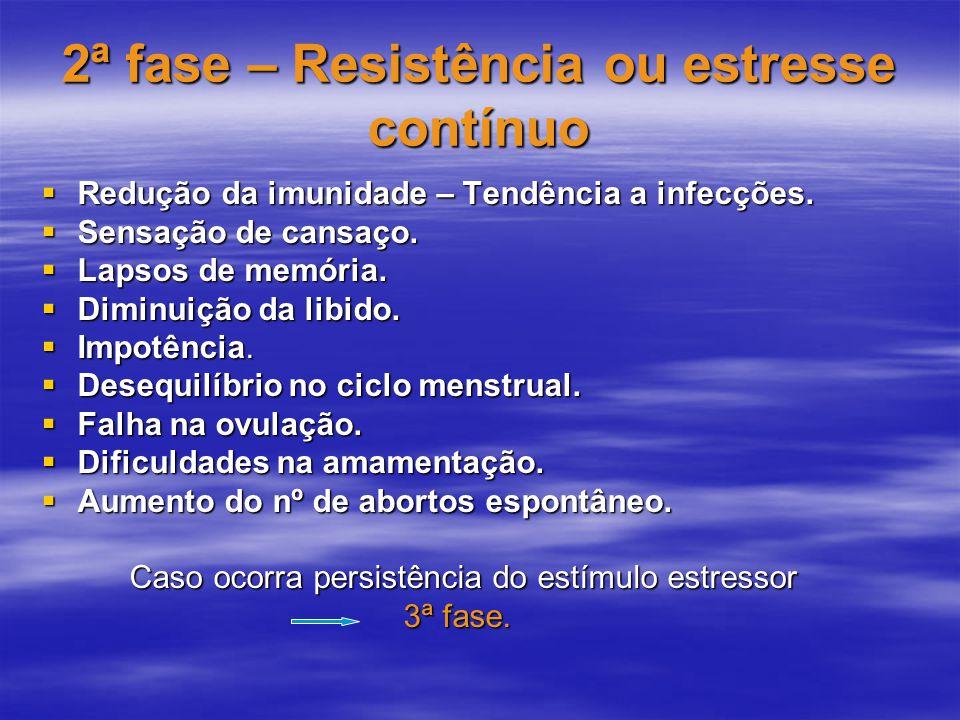 2ª fase – Resistência ou estresse contínuo  Redução da imunidade – Tendência a infecções.  Sensação de cansaço.  Lapsos de memória.  Diminuição da