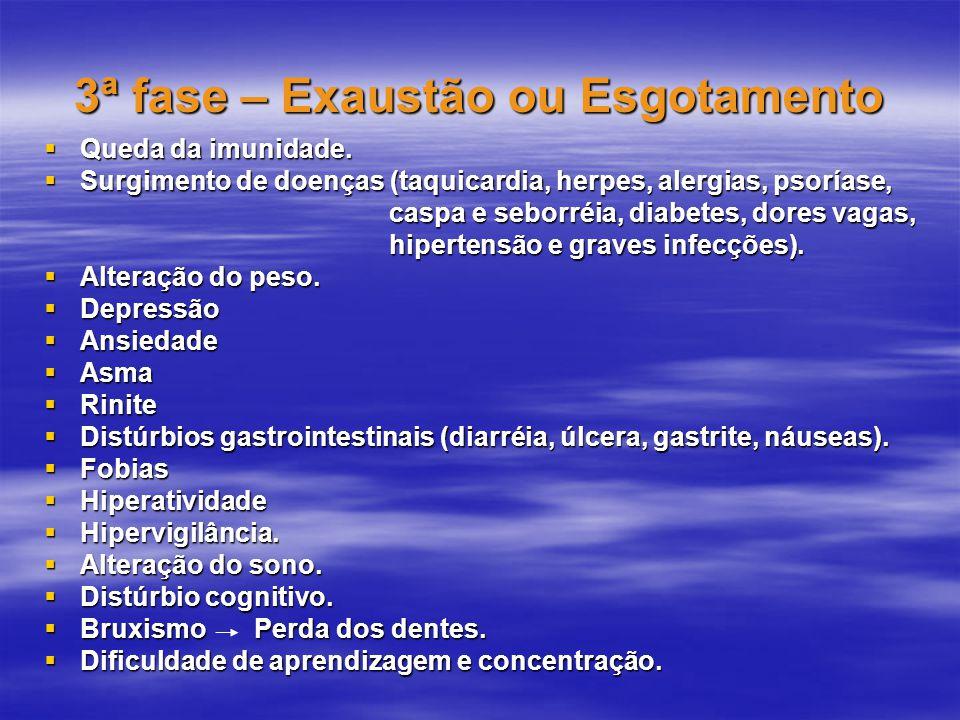 3ª fase – Exaustão ou Esgotamento  Queda da imunidade.  Surgimento de doenças (taquicardia, herpes, alergias, psoríase, caspa e seborréia, diabetes,