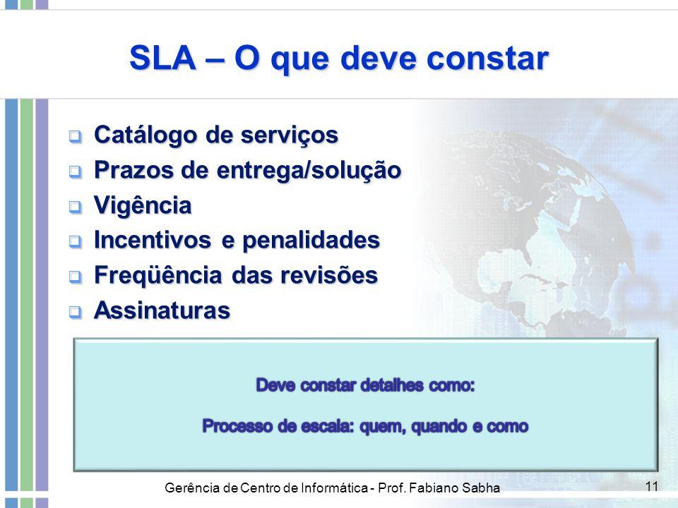 Gerência de Centro de Informática - Prof. Fabiano Sabha 11 SLA – O que deve constar  Catálogo de serviços  Prazos de entrega/solução  Vigência  In