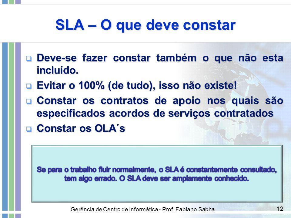 Gerência de Centro de Informática - Prof. Fabiano Sabha 12 SLA – O que deve constar  Deve-se fazer constar também o que não esta incluído.  Evitar o