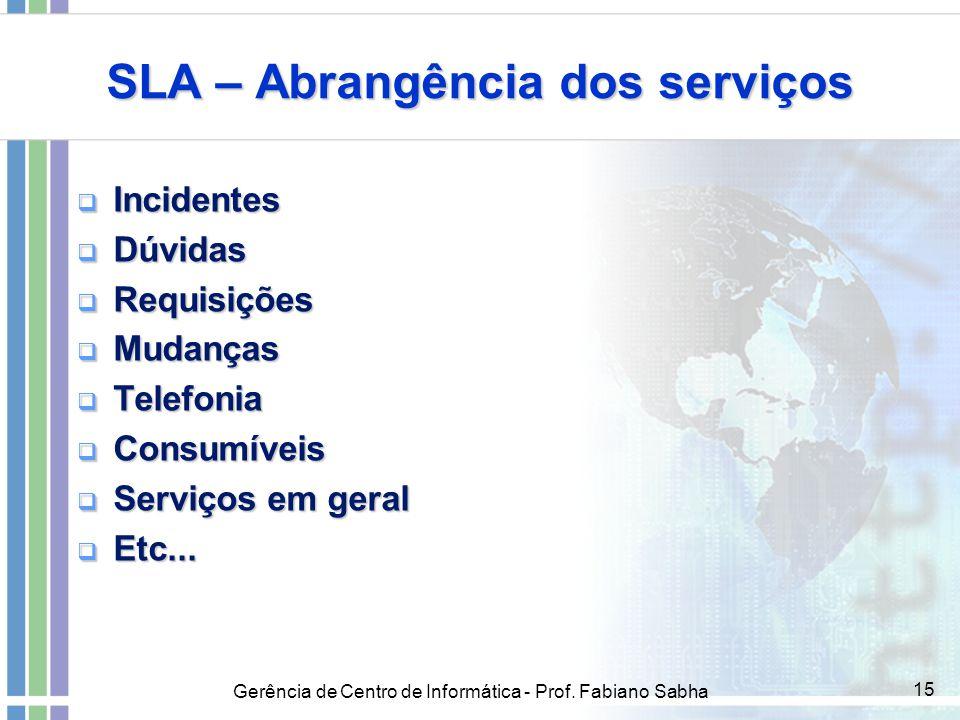 Gerência de Centro de Informática - Prof. Fabiano Sabha 15 SLA – Abrangência dos serviços  Incidentes  Dúvidas  Requisições  Mudanças  Telefonia