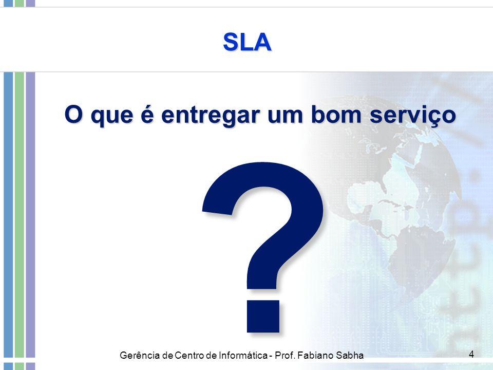 Gerência de Centro de Informática - Prof. Fabiano Sabha 4 SLA O que é entregar um bom serviço ?