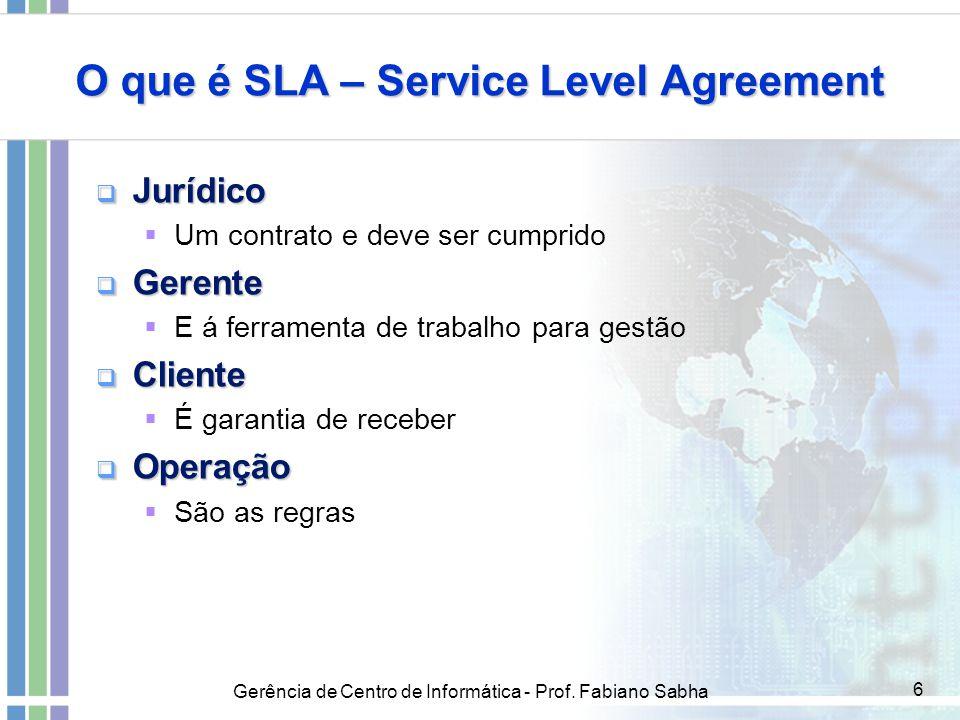Gerência de Centro de Informática - Prof. Fabiano Sabha 6 O que é SLA – Service Level Agreement  Jurídico  Um contrato e deve ser cumprido  Gerente