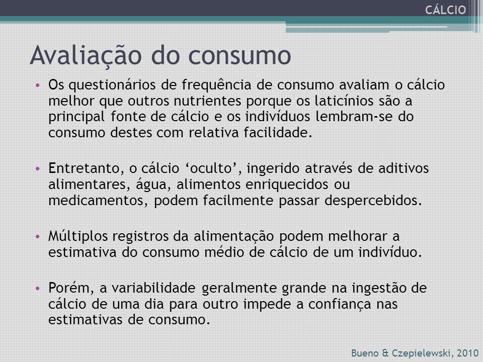 Avaliação do consumo Os questionários de frequência de consumo avaliam o cálcio melhor que outros nutrientes porque os laticínios são a principal font