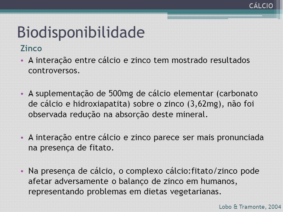 Biodisponibilidade Zinco A interação entre cálcio e zinco tem mostrado resultados controversos. A suplementação de 500mg de cálcio elementar (carbonat