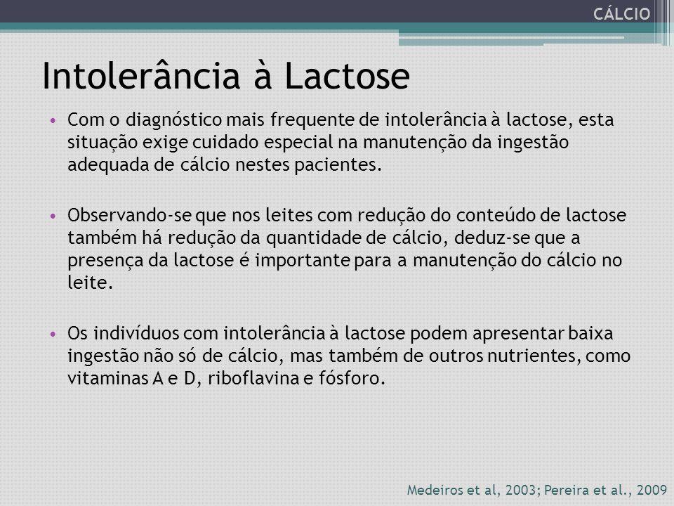 Intolerância à Lactose Com o diagnóstico mais frequente de intolerância à lactose, esta situação exige cuidado especial na manutenção da ingestão adeq