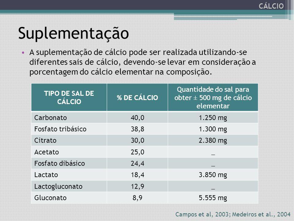 Suplementação A suplementação de cálcio pode ser realizada utilizando-se diferentes sais de cálcio, devendo-se levar em consideração a porcentagem do