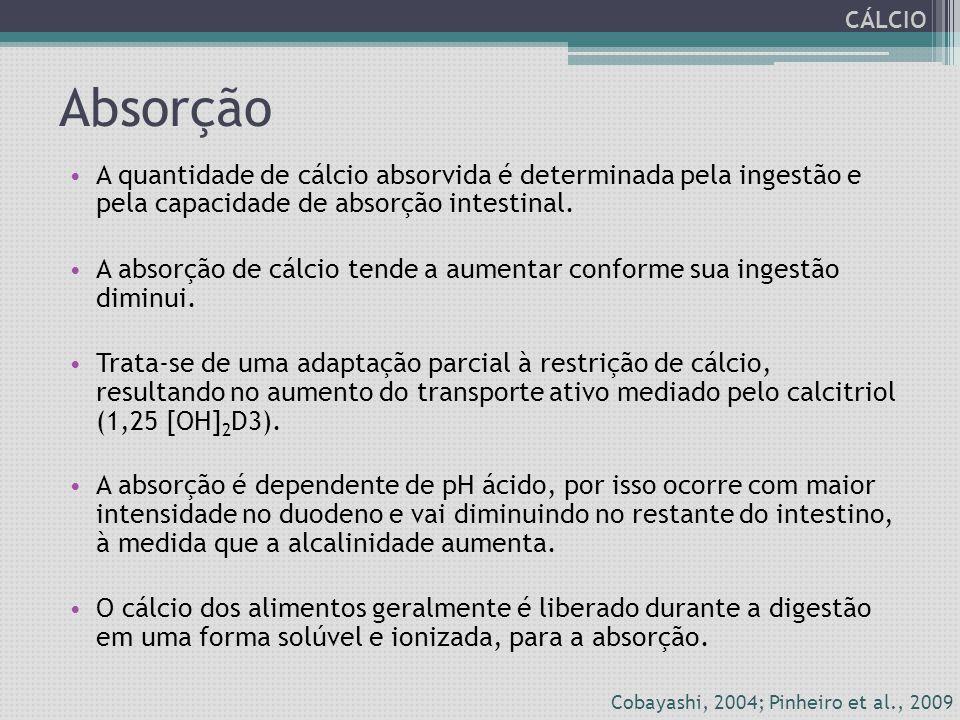 Absorção A quantidade de cálcio absorvida é determinada pela ingestão e pela capacidade de absorção intestinal. A absorção de cálcio tende a aumentar