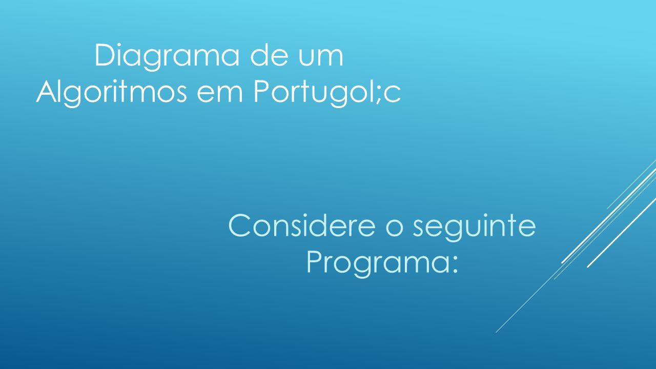 Diagrama de um Algoritmos em Portugol;c Considere o seguinte Programa: