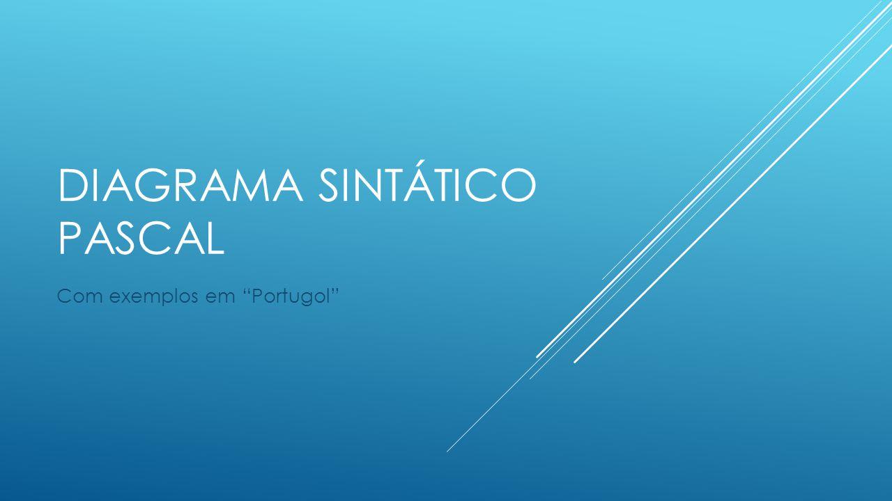 """DIAGRAMA SINTÁTICO PASCAL Com exemplos em """"Portugol"""""""