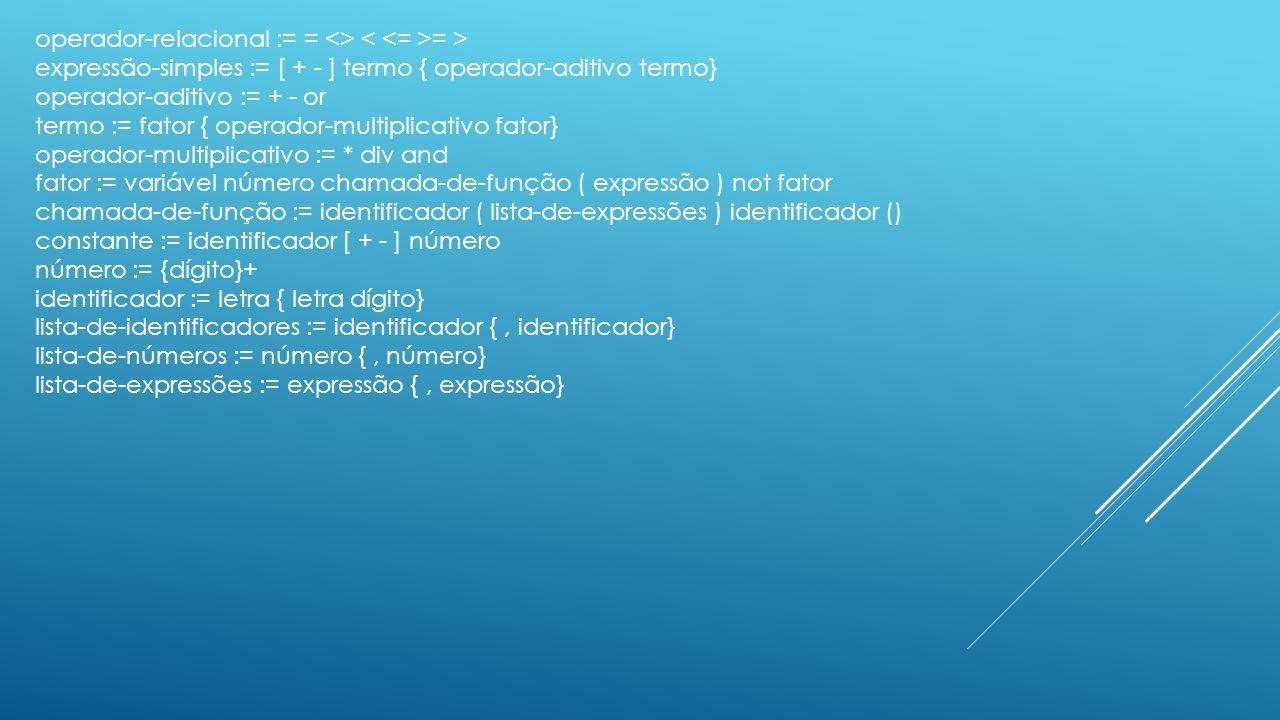 operador-relacional := = <> = > expressão-simples := [ + - ] termo { operador-aditivo termo} operador-aditivo := + - or termo := fator { operador-mult