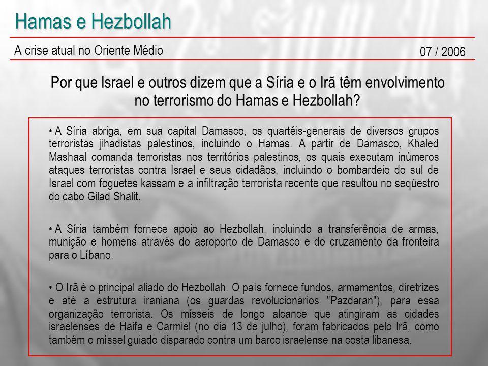 Hamas e Hezbollah A crise atual no Oriente Médio 07 / 2006 Por que Israel e outros dizem que a Síria e o Irã têm envolvimento no terrorismo do Hamas e Hezbollah.