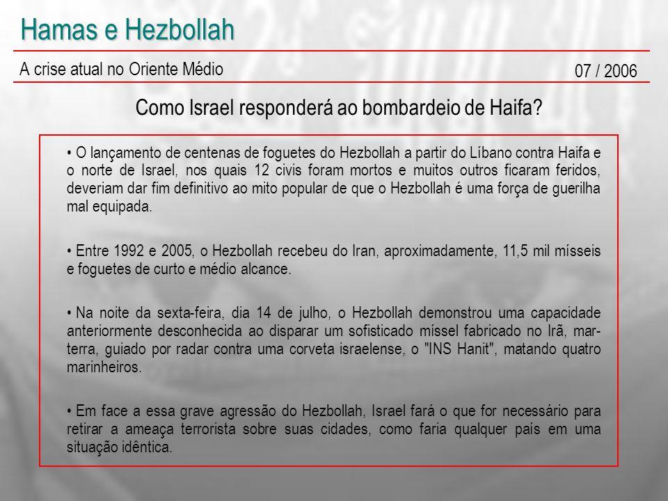 Hamas e Hezbollah A crise atual no Oriente Médio 07 / 2006 Como Israel responderá ao bombardeio de Haifa? O lançamento de centenas de foguetes do Hezb