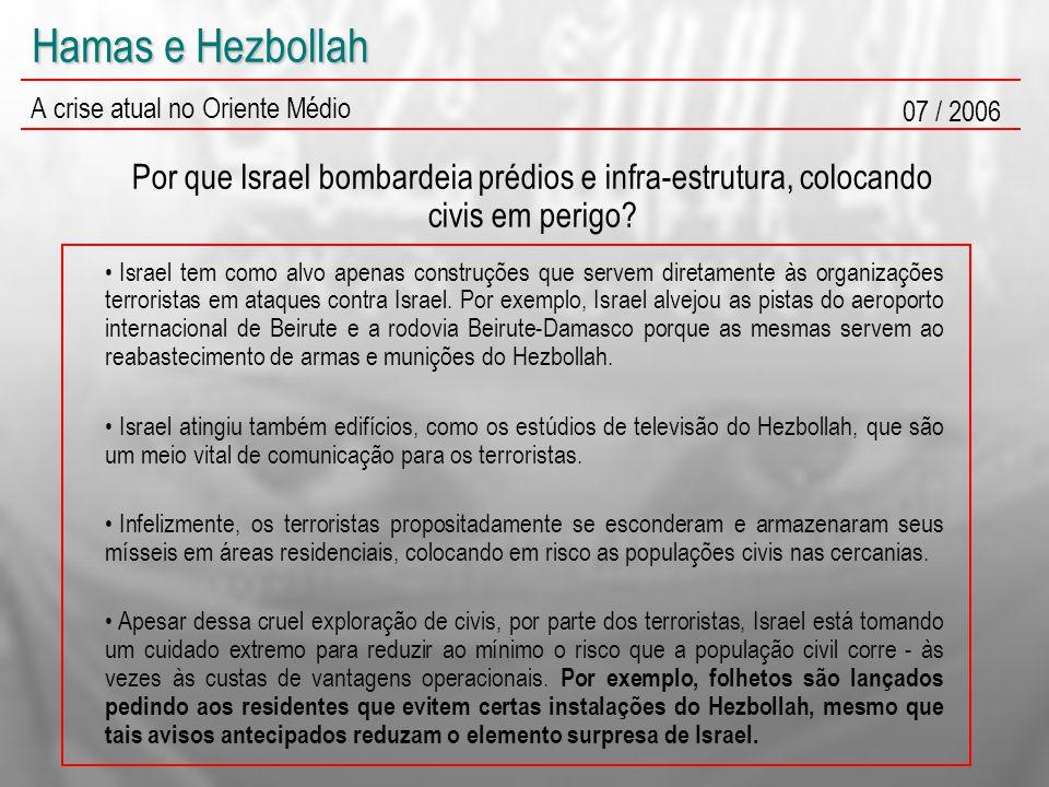 Hamas e Hezbollah A crise atual no Oriente Médio 07 / 2006 Por que Israel bombardeia prédios e infra-estrutura, colocando civis em perigo? Israel tem