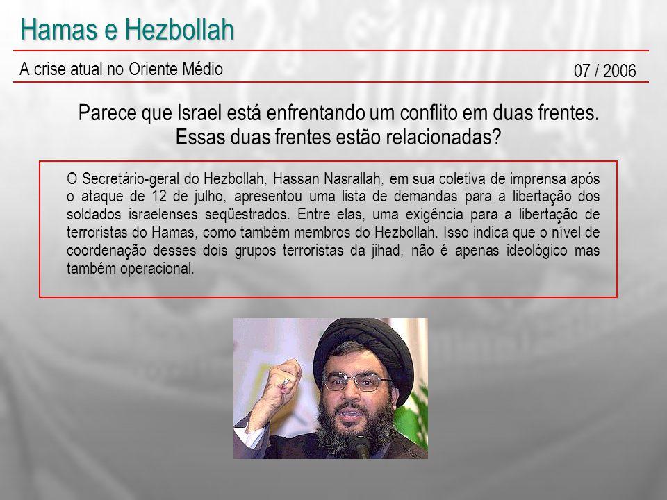 Hamas e Hezbollah A crise atual no Oriente Médio 07 / 2006 Parece que Israel está enfrentando um conflito em duas frentes. Essas duas frentes estão re