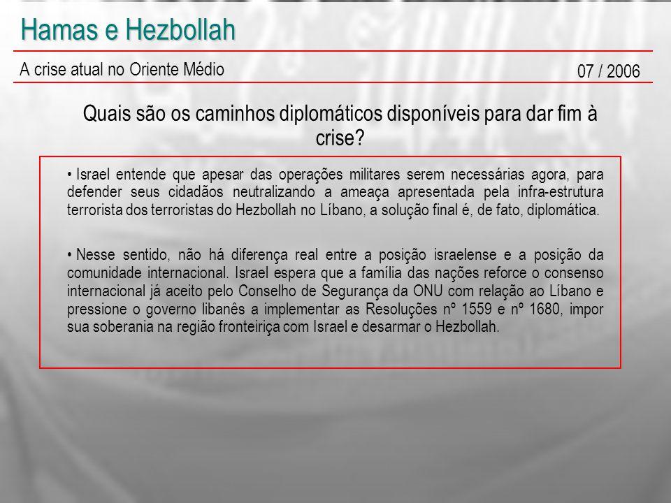 Hamas e Hezbollah A crise atual no Oriente Médio 07 / 2006 Quais são os caminhos diplomáticos disponíveis para dar fim à crise? Israel entende que ape